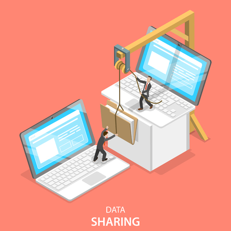 Ilustración de Isometric flat vector concept of data sharing service, social network, information exchange, file transfer. - Imagen libre de derechos