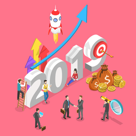 Illustration pour Isometric flat vector concept of 2019 - year of opportunities. - image libre de droit