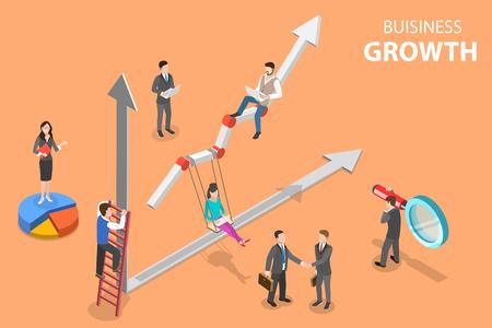 Ilustración de Isometric flat vector concept of business growth, increasing efficiency. - Imagen libre de derechos