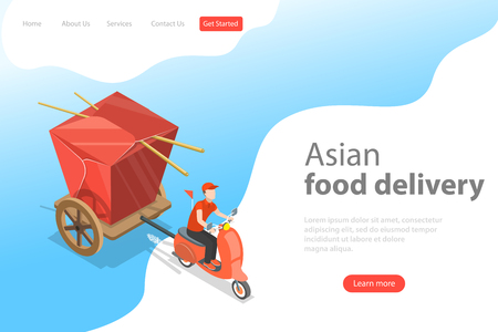 Illustration pour Isometric flat vector landing page template of asian food delivery. - image libre de droit