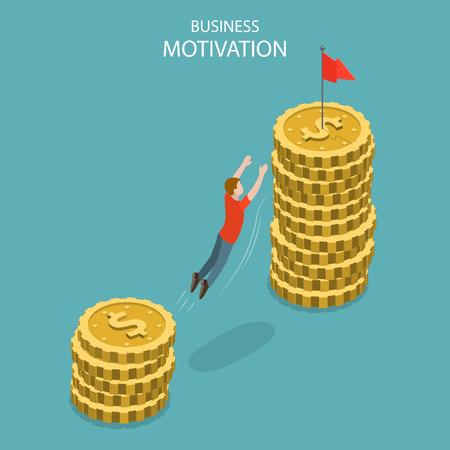 Illustration pour Isometric flat vector concept of business motivation, achievment, ambition and leadership, pay rise, salary increase. - image libre de droit