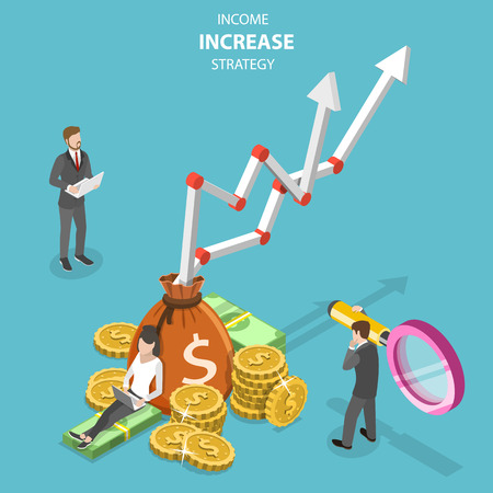 Illustration pour Isometric flat vector concept of income increase strategy, financial growth, increasing efficiency. - image libre de droit