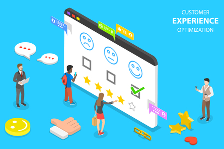 Illustration for Isometric flat vector concept of customer experience optimization, crm - Royalty Free Image