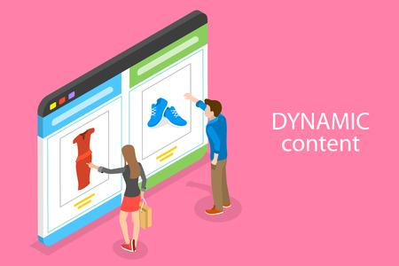 Ilustración de Isometric flat vector concept of behavioral digital marketing, dynamic content. - Imagen libre de derechos