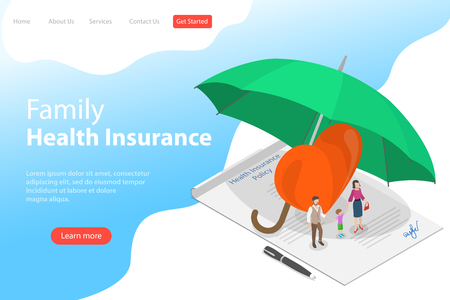 Illustration pour Isometric flat vector landing page template of health insurance policy. - image libre de droit