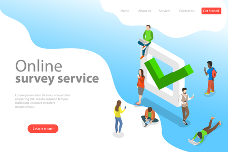 Illustration pour Flat isometric vector landing page template of online survey service. - image libre de droit