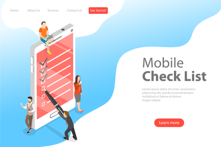 Illustration pour Isometric flat vector concept of mobile checklist, task successful completion. - image libre de droit