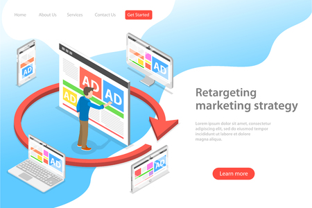 Ilustración de Isometric flat vector landing page template of retargeting marketing stragety, behavioural remarketing, digital promotion campaign. - Imagen libre de derechos