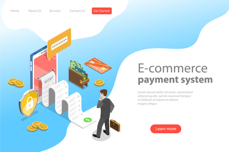 Illustration for Flat isometric vector landing page template of e-commerce payment system. - Royalty Free Image