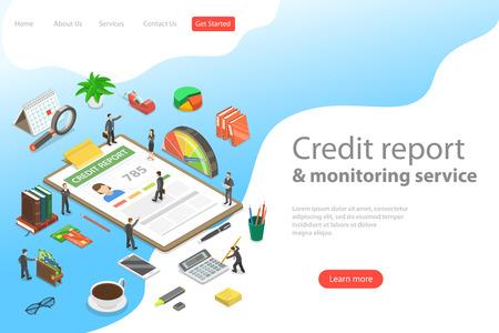 Photo pour Flat isometric vector landing page template of personal credit score information, financial rating. - image libre de droit