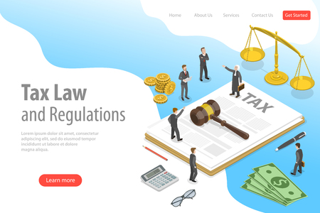 Illustration pour Isometric flat vector landing page template of tax law and regulations. - image libre de droit