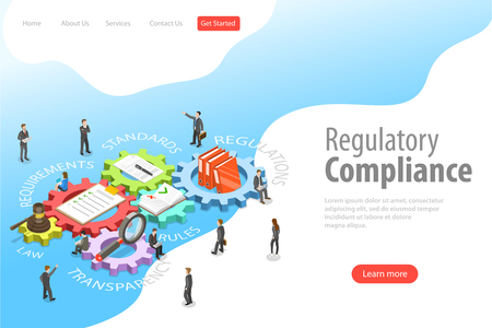 Illustration for Flat isometric vector landing page template of regulatory compliance. - Royalty Free Image