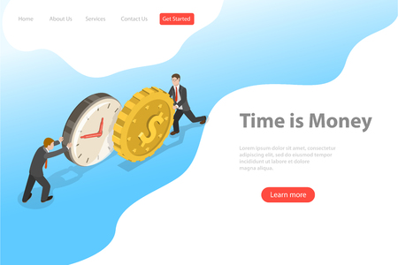 Ilustración de Flat isometric vector landing page template for time is money, income growth. - Imagen libre de derechos