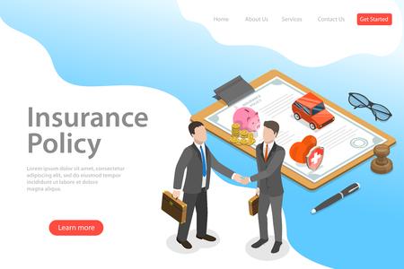 Photo pour Isometric flat vector landing page template of insurance deal, policy. - image libre de droit