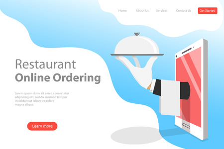 Ilustración de Flat vector landing page template of table online reservation, mobile booking. - Imagen libre de derechos
