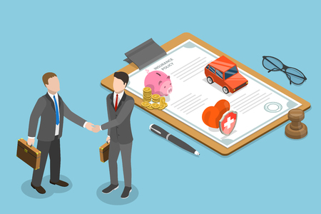 Ilustración de Isometric flat vector concept of insurance deal, policy, healthcare and medical service. - Imagen libre de derechos