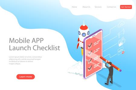 Illustration pour Flat isometric vector landing page template for mobile app launch checklist. - image libre de droit