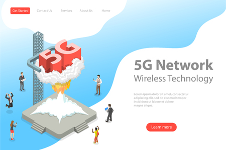 Illustration pour Isometric flat vector landing page template of 5G , global wireless network. - image libre de droit