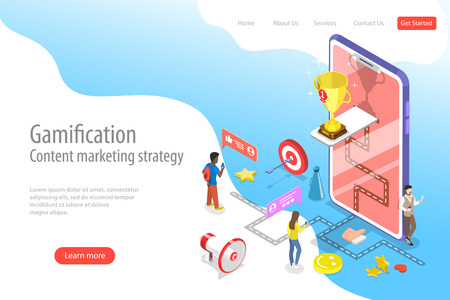 Illustration for Isometric flat vector landing pate template of gamification, interactive content - Royalty Free Image