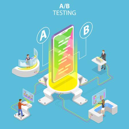 Illustration pour Isometric flat vector concept of AB testing, split test, A-B comparison. - image libre de droit