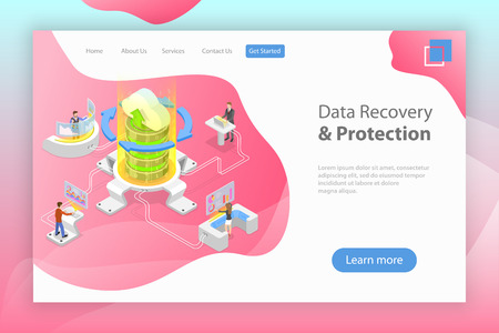 Illustration pour Isometric flat vector landing pate template of data recovery services. - image libre de droit