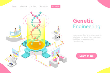 Illustration pour Isometric flat vector concept of genetic engineering, DNA structure changing. - image libre de droit