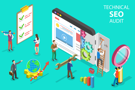 Ilustración de Isometric flat vector concept of technical SEO audit, search engine strategy, content marketing, website development. - Imagen libre de derechos