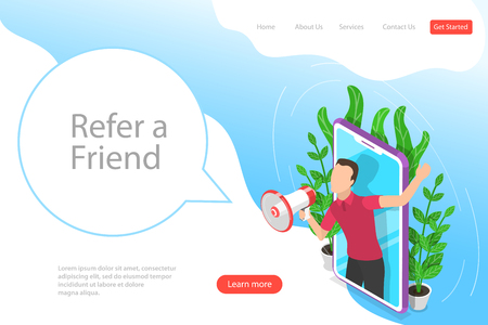 Illustration pour Isometric flat vector landing page template of refer a friend illustration - image libre de droit