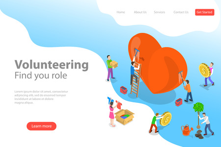 Illustration for Isometric flat vector landing page template of volunteering and support. - Royalty Free Image