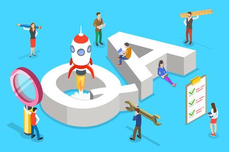 Ilustración de Isometric flat vector concept of QA, quality assurance, software app testing, coding and programming, question and answer, SQA team. - Imagen libre de derechos