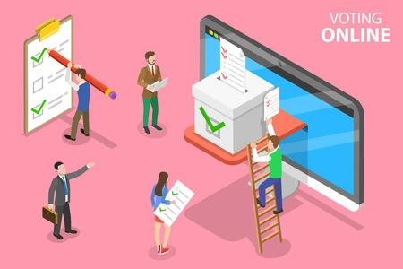 Illustration pour Isometric flat vector concept of online voting and election, e-voting internet system. - image libre de droit