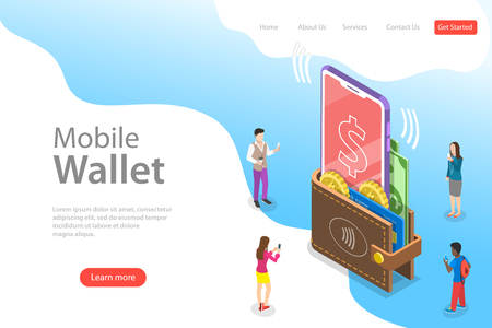 Illustration pour Isometric flat vector landing page template of digital mobile wallet, online banking, wireless money transfer. - image libre de droit