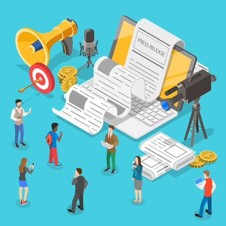 Illustration for Isometric flat vector concept of internet press release, news article service, digital marketing campaign. - Royalty Free Image