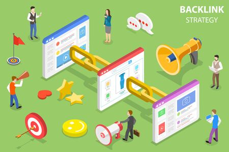 Illustration pour Isometric flat vector concept of backlink strategy, SEO link building, digital marketing campaign. - image libre de droit