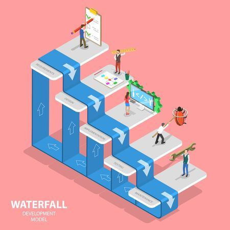 Illustration pour Flat isometric vector concept of waterfall methodology, software development. - image libre de droit