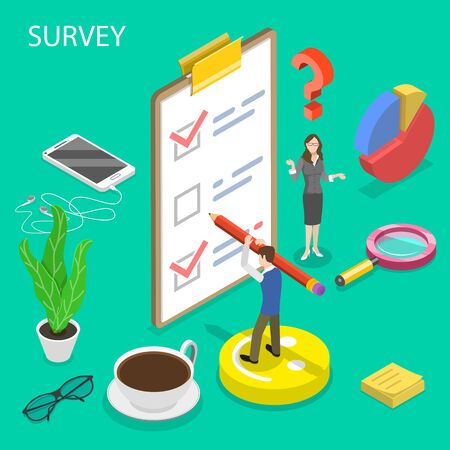 Ilustración de Isometric flat vector concept of survey, customer rating and feedback, quality test, consumer satisfaction research. - Imagen libre de derechos