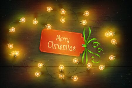 Illustration for Christmas Composition on Dark Wooden Background with Wishes and Garland. - Royalty Free Image