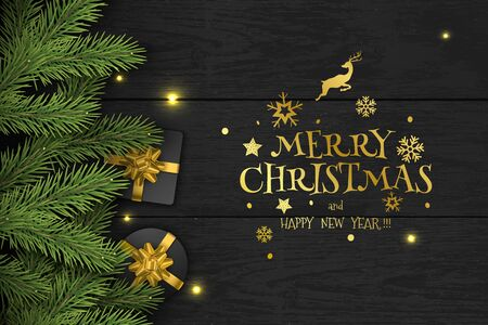 Illustration for Christmas Vector Composition on Dark Wooden Background. For Greeting Card. - Royalty Free Image