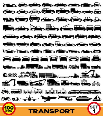 Illustration pour 100 transportation icons  - image libre de droit