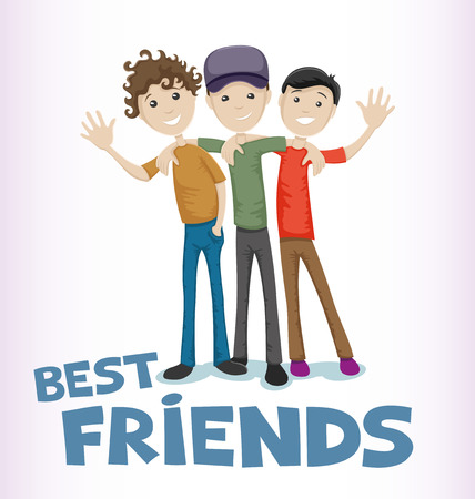 Illustration for Friends celebrating Friendship Day. - Royalty Free Image