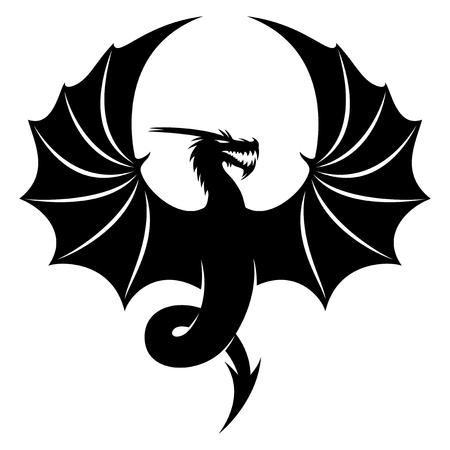 Ilustración de Black dragon sign on white background, vector illustration. - Imagen libre de derechos