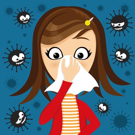 Ilustración de Girl has runny nose and viruses around. - Imagen libre de derechos