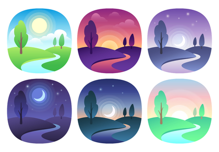 Illustration pour Modern beautiful landscape with gradients. Sunrise, dawn, morning, day, noon, sunset, dusk and night icon. Sun time vector icons set - image libre de droit