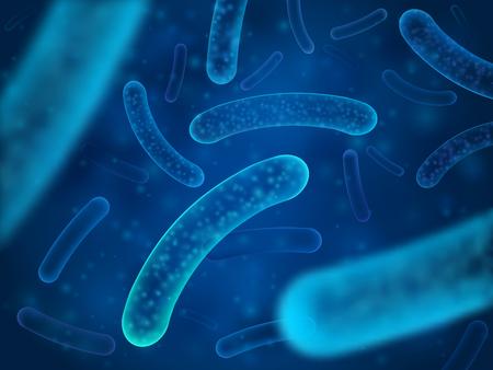 Illustrazione per Micro bacterium and therapeutic bacteria organisms. Microscopic salmonella, lactobacillus or acidophilus organism. Abstract biological vector background - Immagini Royalty Free