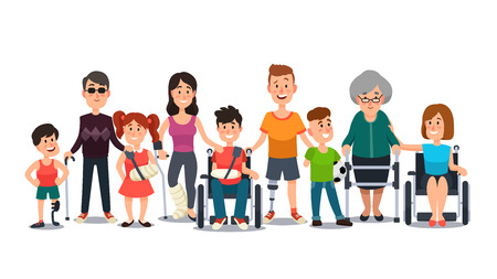 Illustrazione per Disabled characters. Happy people with special needs. Student kid boy in wheelchair, man with disability and elderly on crutches cartoon flat vector set - Immagini Royalty Free