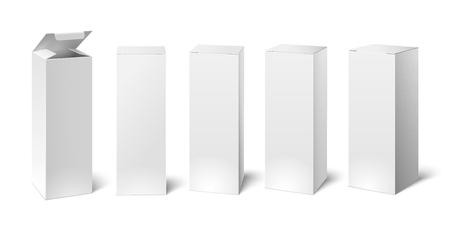 Ilustración de High white cardboard box mockup. Set of realistic vertical tall cardboard rectangular cosmetic or medical packaging, paper boxes. Vector 3D illustration isolated collection - Imagen libre de derechos