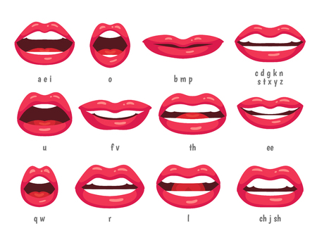 Ilustración de Mouth animation. Lip sync animated phonemes for cartoon talking woman character sign. Mouths with red lips speaking animations in english language text for education shape isolated symbol vector set - Imagen libre de derechos