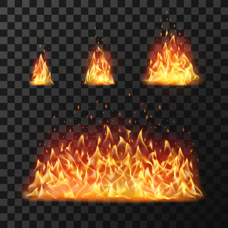 Ilustración de Burning fire flames or hot flaming blaze fireball. Blazing fires symbol or red cartoon forest campfire warm fireplace silhouette isolated vector icon flame realistic set - Imagen libre de derechos