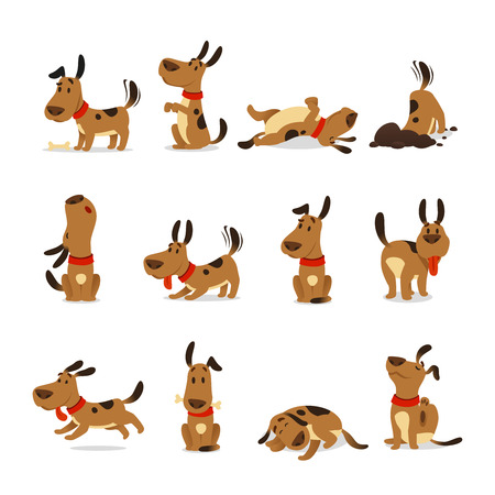 Illustration pour Cartoon dog set. Dogs tricks icons and action training digging dirt eating pet food jumping wiggle sleeping running and barking brown happy cute animal poses vector isolated symbol illustration - image libre de droit