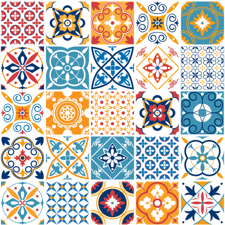Illustration for Portugal seamless pattern. Vintage mediterranean ceramic tile texture retro symmetrical shapes azulejo pattern tiling. Geometric tiles patterns and wall print abstract design textures vector set - Royalty Free Image